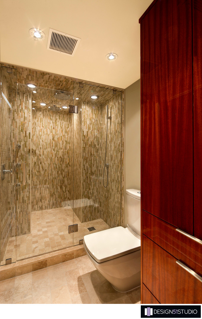 MODERN RIVERSIDE CONDO MASTER BATH - LINEN CABINET & SHOWER - HOLLY WIEGMANN - DESIGN 51 STUDIO