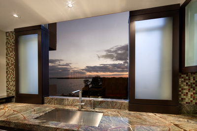 MODERN RIVERSIDE CONDO KITCHEN - CABINETRY WINDOW PANELS - HOLLY WIEGMANN - DESIGN 51 STUDIO