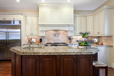 FRENCH COUNTRY KITCHEN - ISLAND & WOOD HOOD - HOLLY WIEGMANN - DESIGN 51 STUDIO