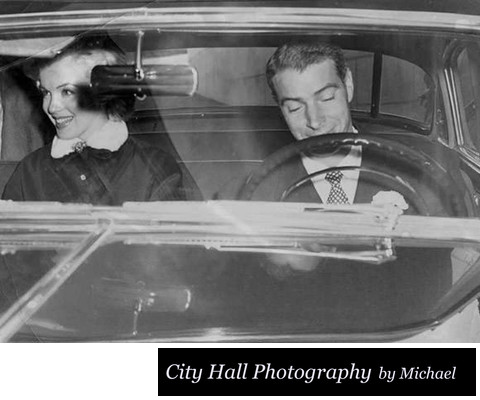 Marilyn Monroe and  Joe DiMaggio leaving SF City Hall  in car