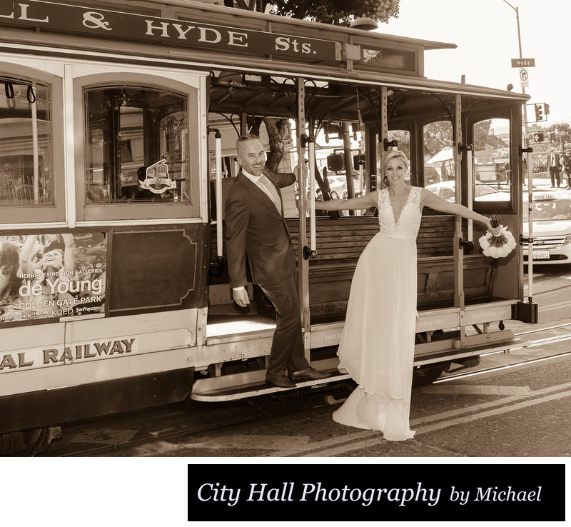 SF Cable car bride and groom in Sepia Tone