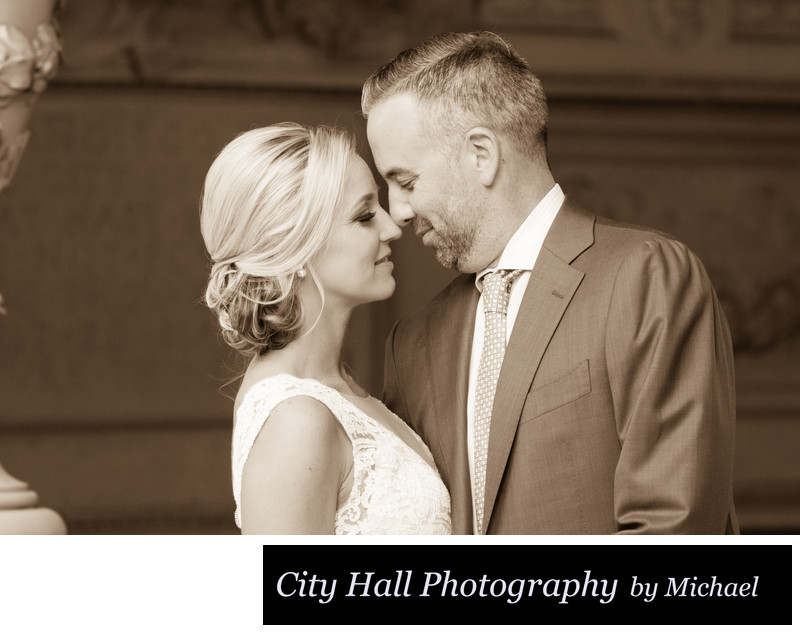 City Hall Wedding Photography in Sepia Tone