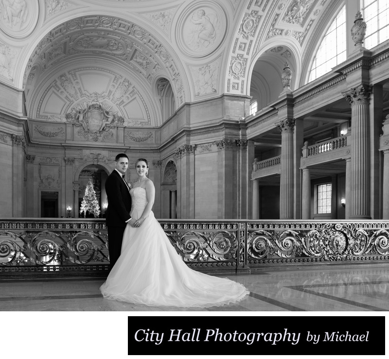 Christmas at City Hall in Black and White photography