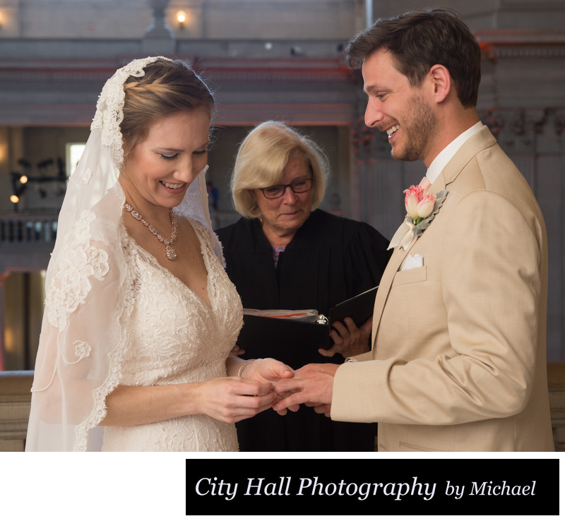 Exchanging Wedding Rings at City Hall Ceremony