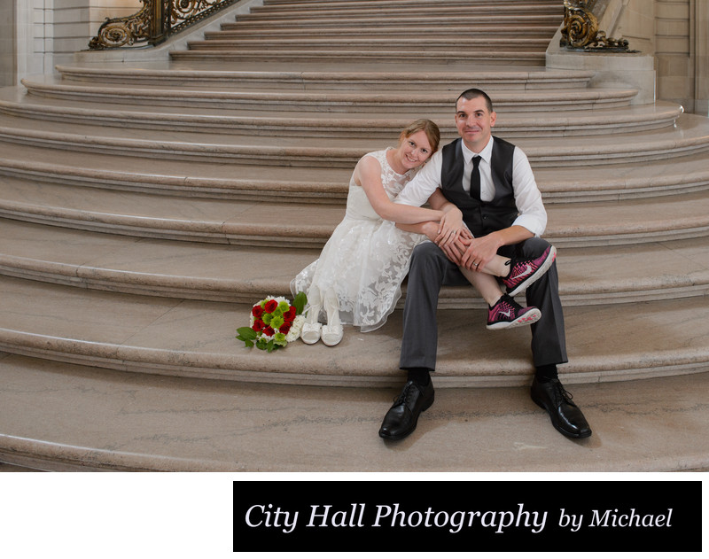 San Francisco City Hall Wedding Photographer - Couple Sitting on Staircase