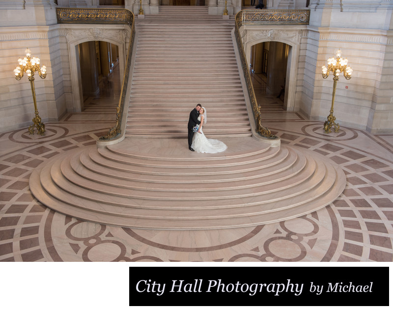 Wide image wedding photography at city hall