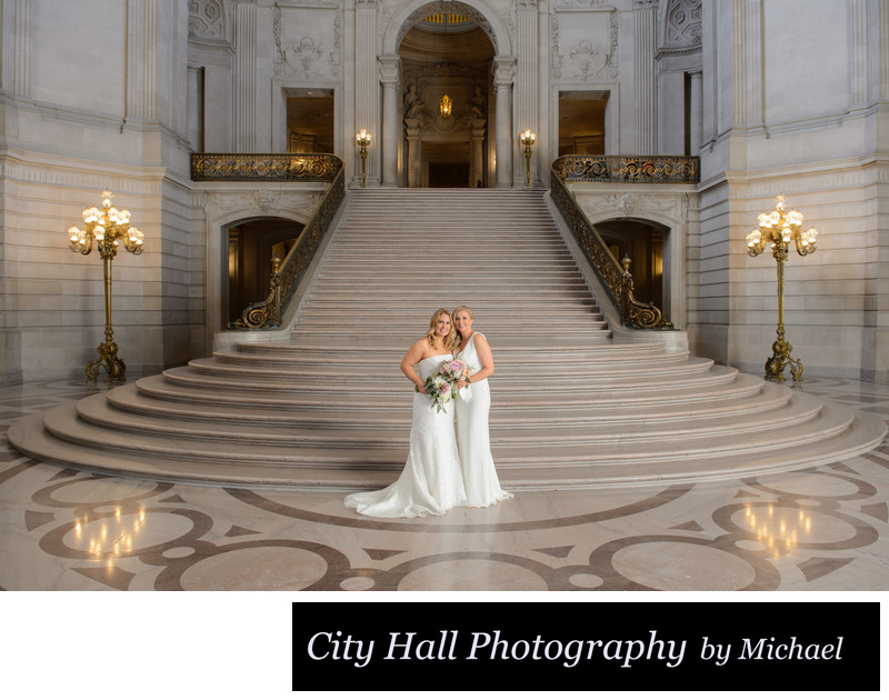 Grand staircase wedding photography at SF City Hall