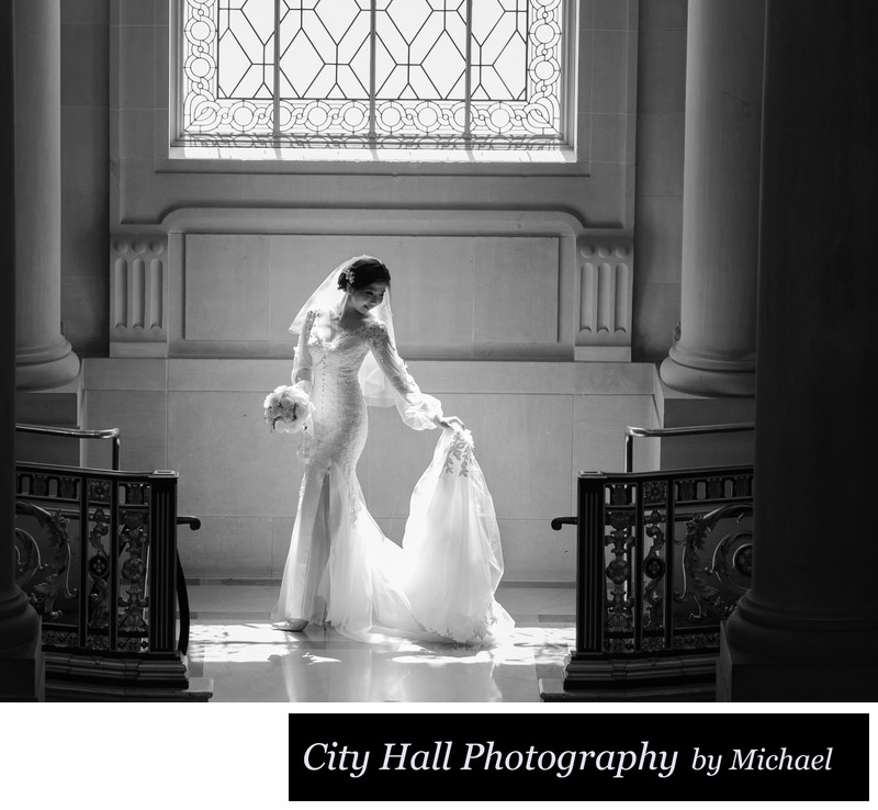 Wedding Photographer San Francisco City Hall - Wedding Dress