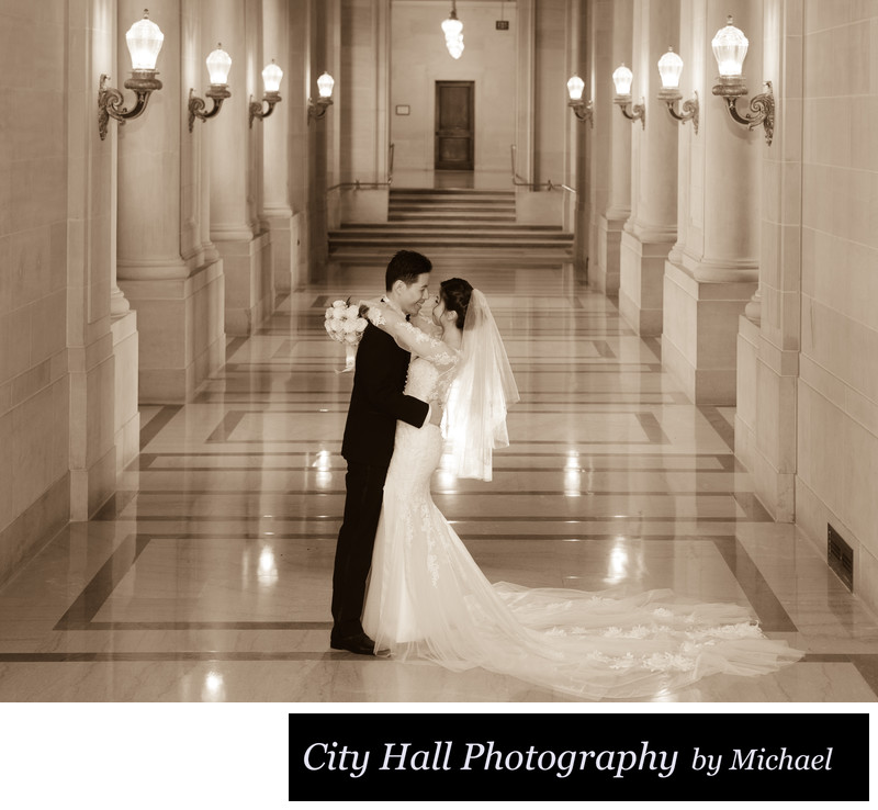 Sepia tone marriage photography with glowing veil