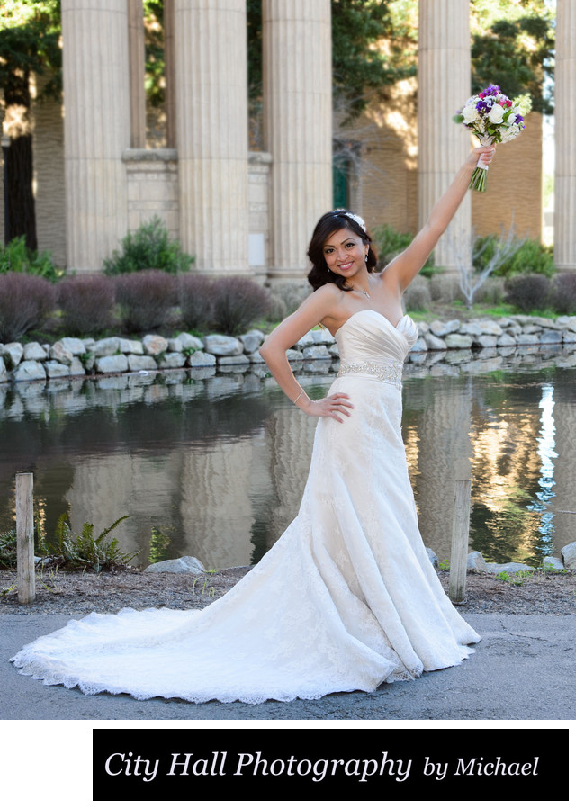 Bride SF Palace of Fine Arts after City Hall Wedding Photography