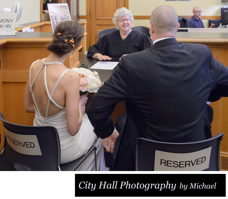 Meeting wedding officiant be their City Hall ceremony