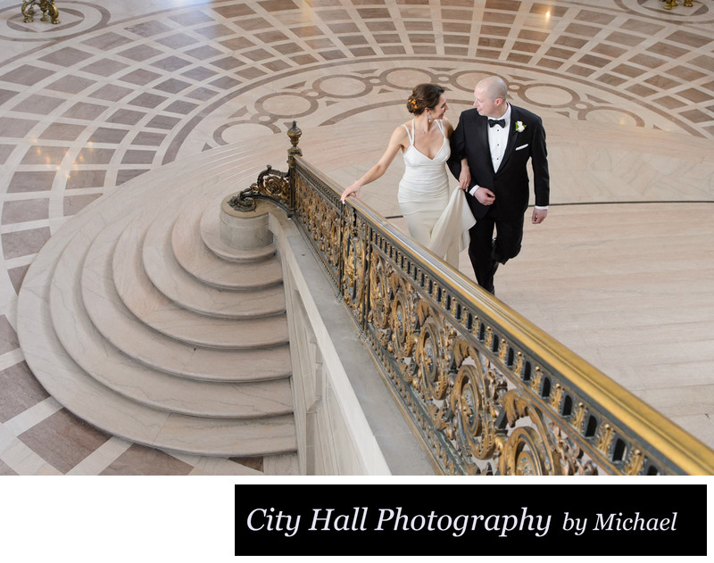 Documentary Wedding Photography Walking grand staircase