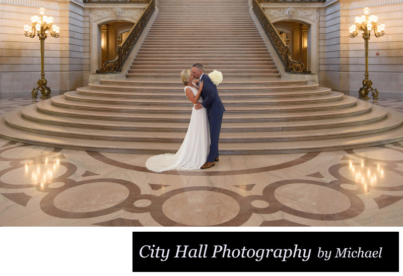 Wedding Kiss on the Grand Staircase at SF City Hall