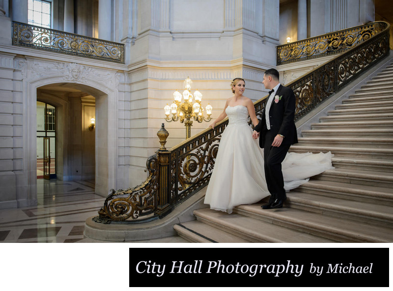 San Francisco City Hall Newlyweds walking down the Grand Staircase
