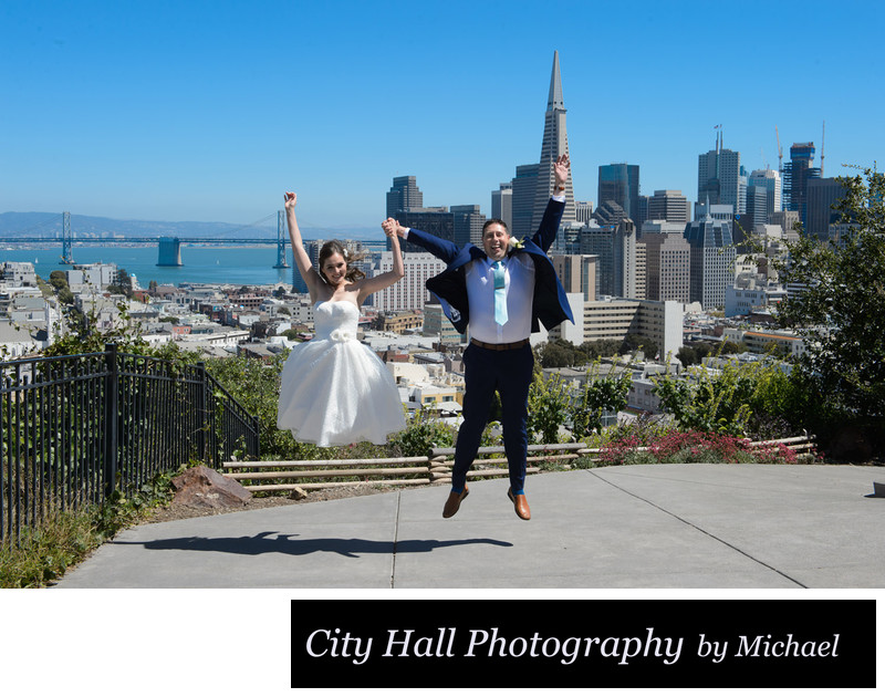 San Francisco Russian Hill wedding jump image