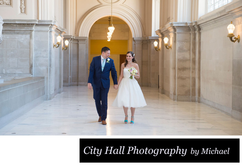Bride and Groom Walking North Gallery fourth floor