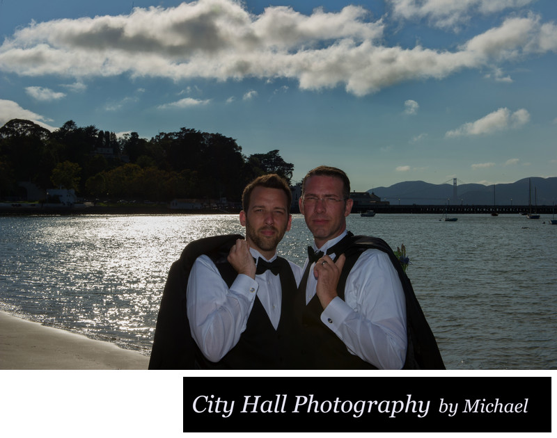 Same sex Ghirardelli Square wedding photographer