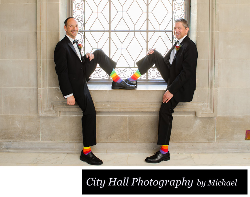 Same sex rainbow socks with 2 best Grooms