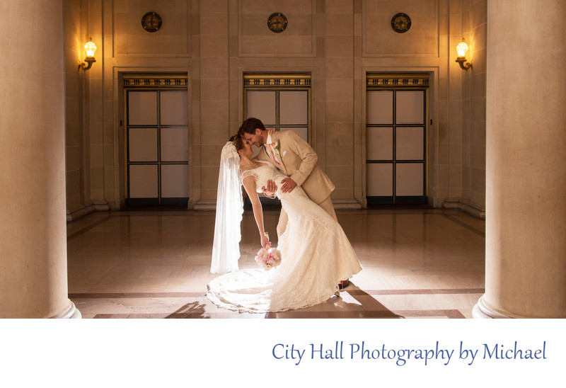 creative wedding photography at city hall with silhouette