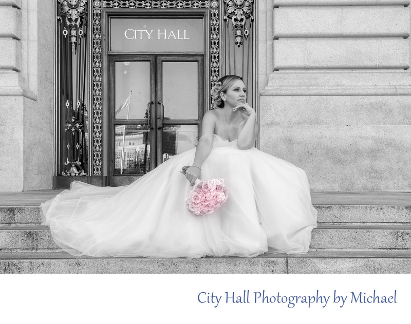Wedding Photographer San Francisco City Hall - Steps Looking