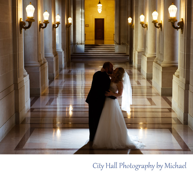 Dramatic Hallway Wedding Photography Image with Lights