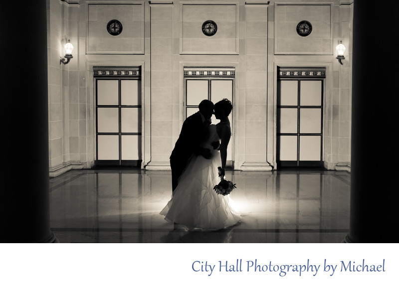 Dramatic SF City Hall Wedding Photography Image