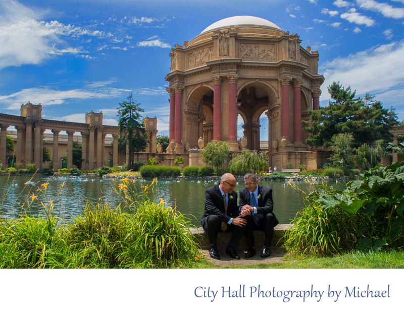 Gay Wedding Photographer San Francisco City Hall - Palace of Fine Arts