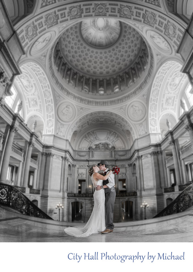 San Francisco Marriage black and white with Color image