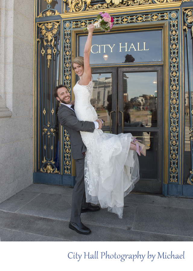 City Hall Sign Cheering Wedding Photography Image
