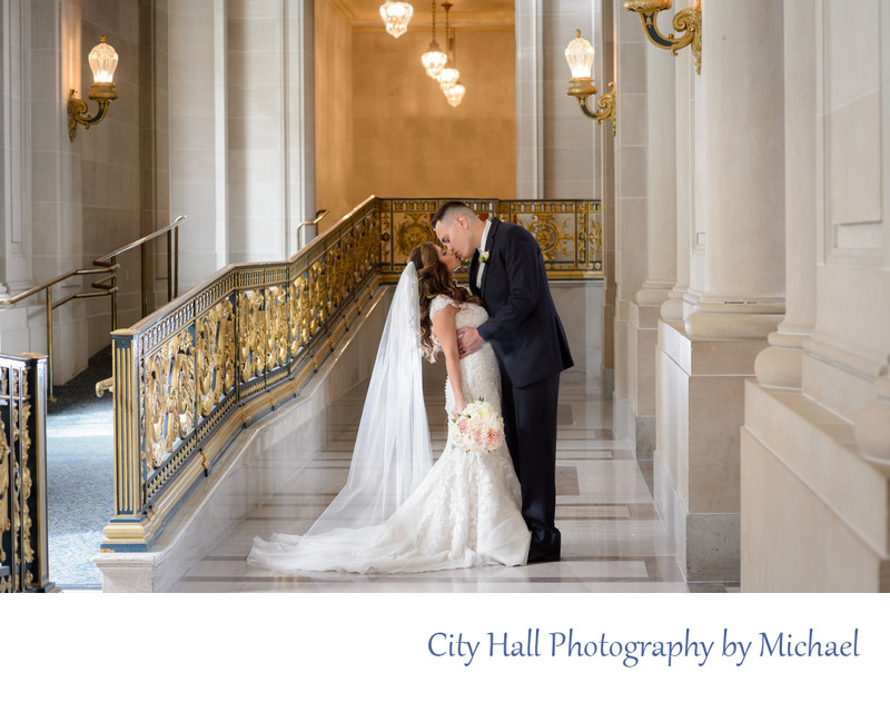 Glowing Veil at a San Francisco City Hall Wedding