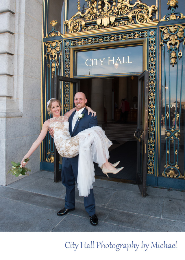 Just Married Bride Carried out of City Hall by Groom