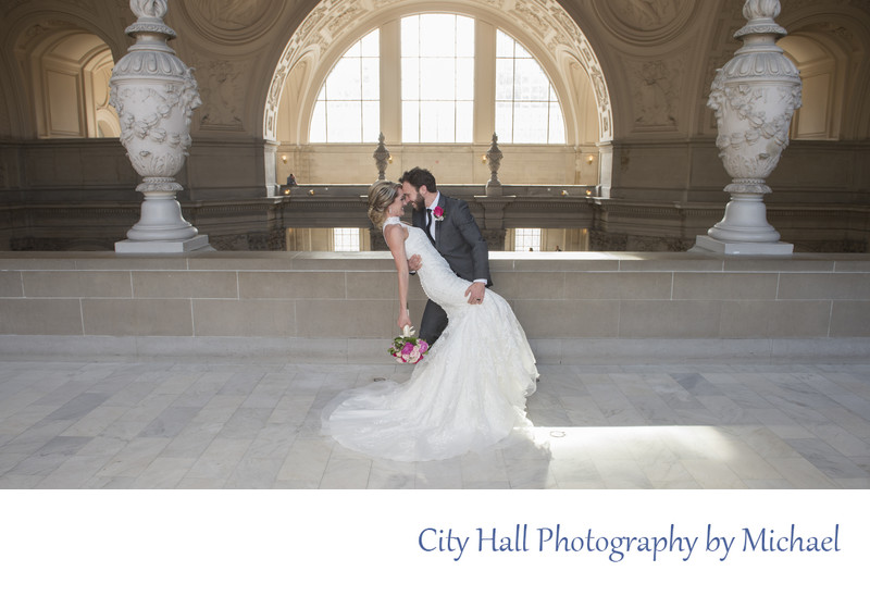 City Hall North Gallery Dance Dip Wedding Photography