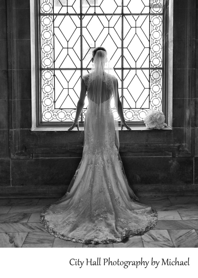 Back of Bridal Gown in San Francisco City Hall Window