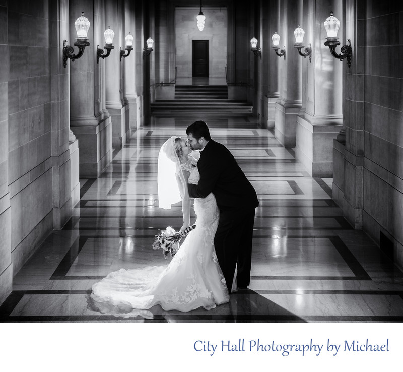 Best Glowing Black and White SF City Hall Wedding Image
