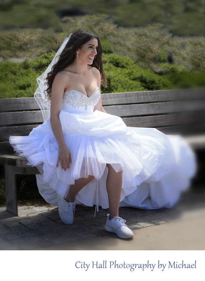 Wedding Photographer San Francisco City Hall - Bride on Bench