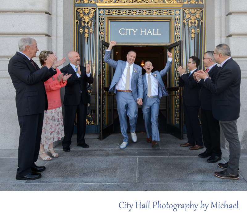 Gay Grooms Having Fun as they leave San Francisco City Hall