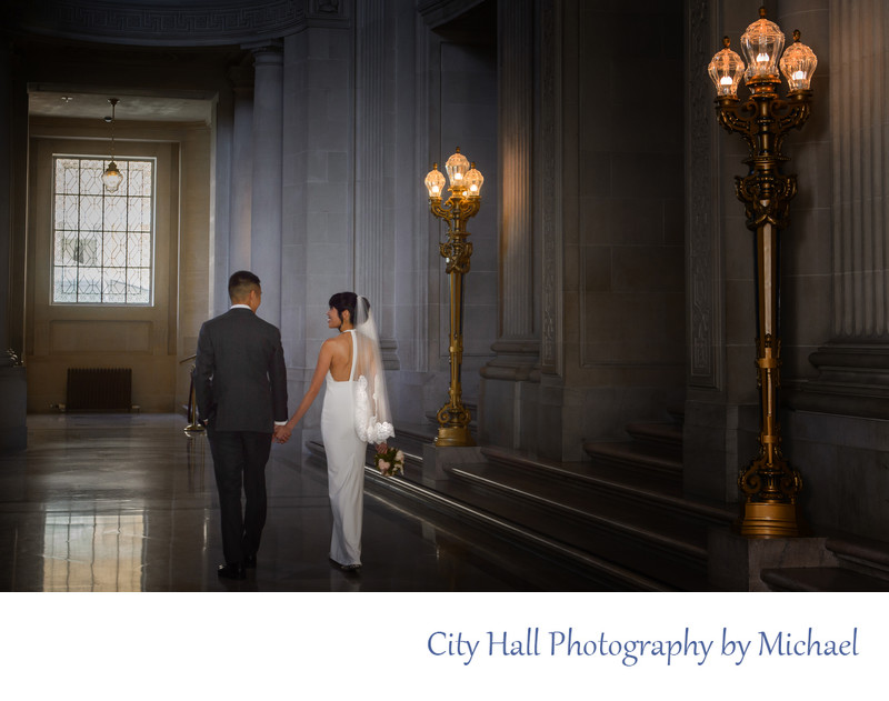 San Francisco City Hall Wedding Photographer - Balcony Walk