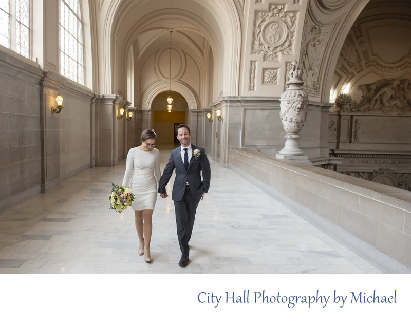 Wedding Photographer San Francisco City Hall - Newlyweds Walking