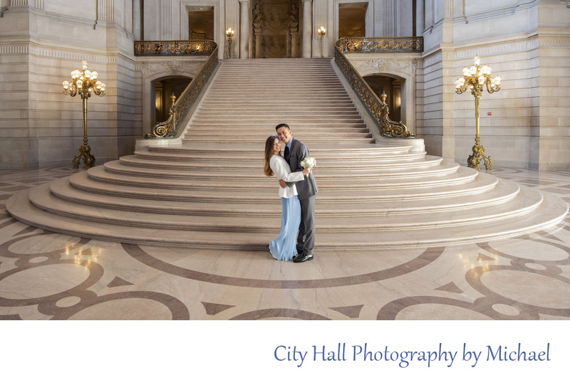 SF City Hall Professional Wedding Photographer - Bride's blue dress