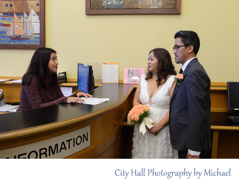 All wedding couples must check in before their city hall ceremony occurs