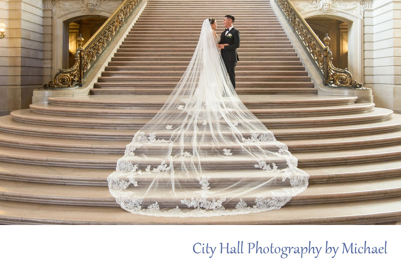 Amazing long veil displayed on the Grand Staircase in San Francisco