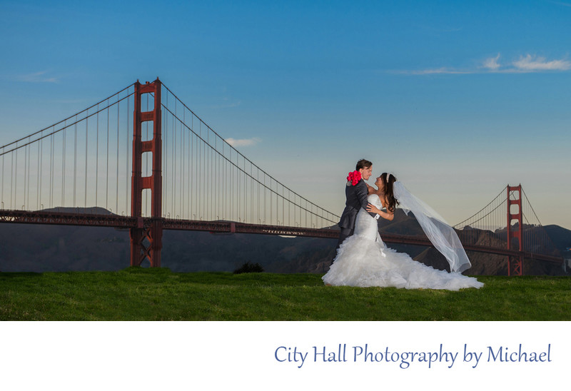 Romantic wedding photography with Crissy Field and Golden Gate Bridge