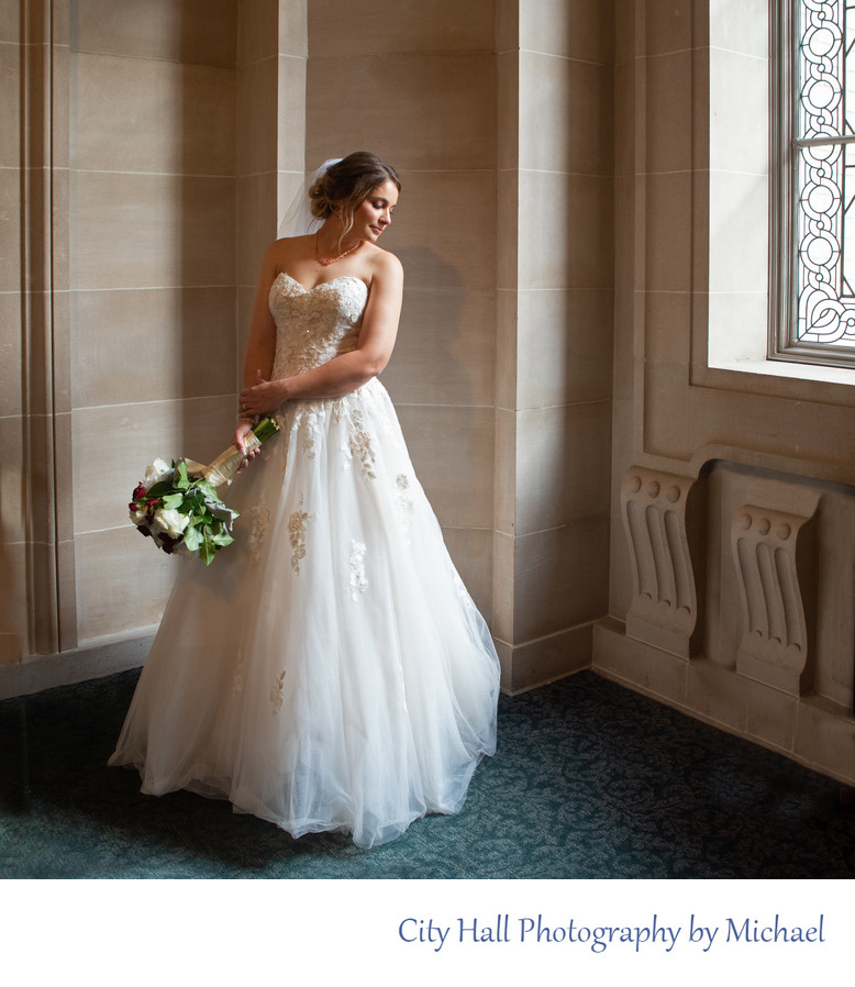 Window Light Beautifully Illuminates this SF City Hall Bride