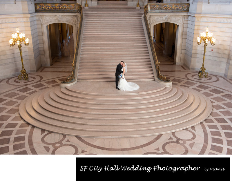 Wedding Photography at the Grand Staircase at SF City Hall