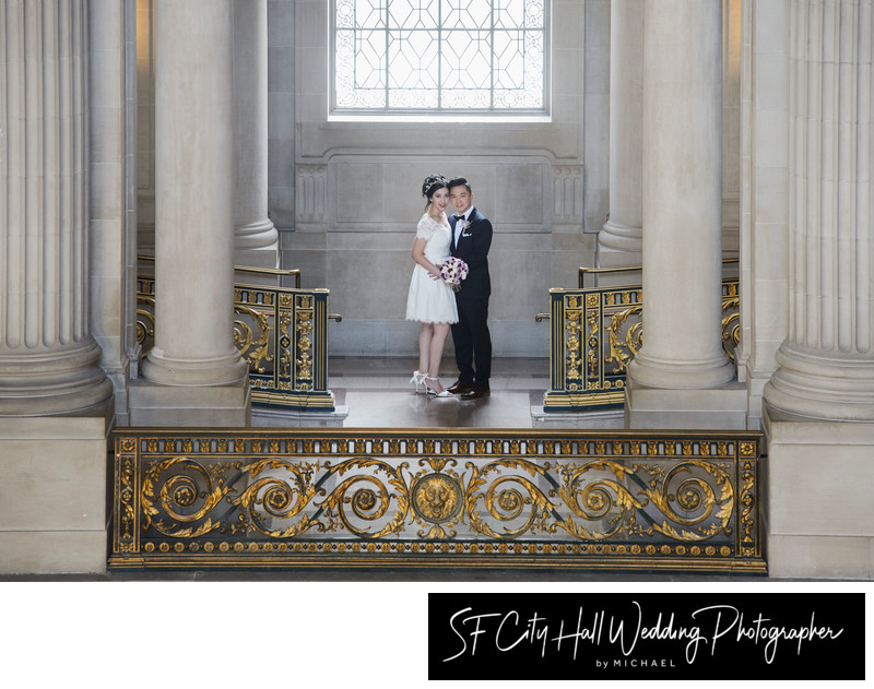 City Hall Wedding Photography - Across the way with Bride and Groom