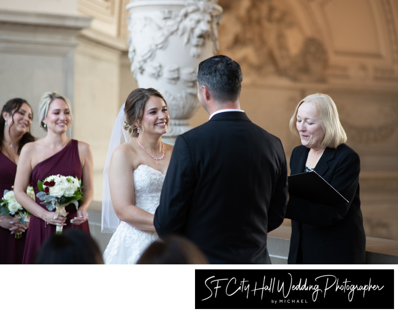 San Francisco city hall wedding ceremony with great officiant