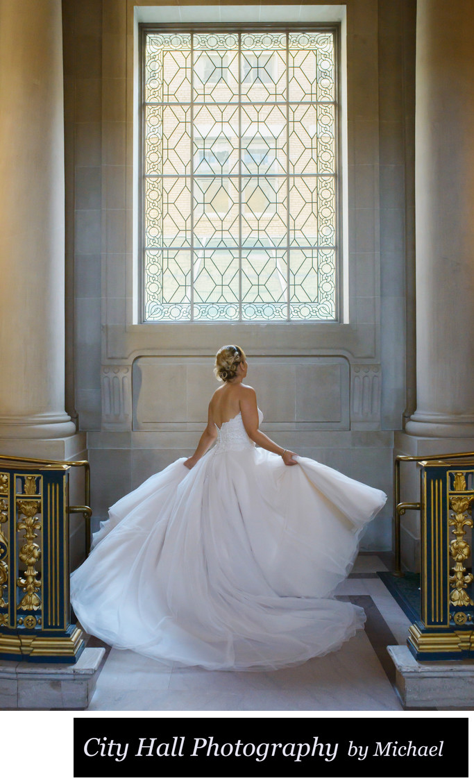 Twirling Bride in Window Light Photography