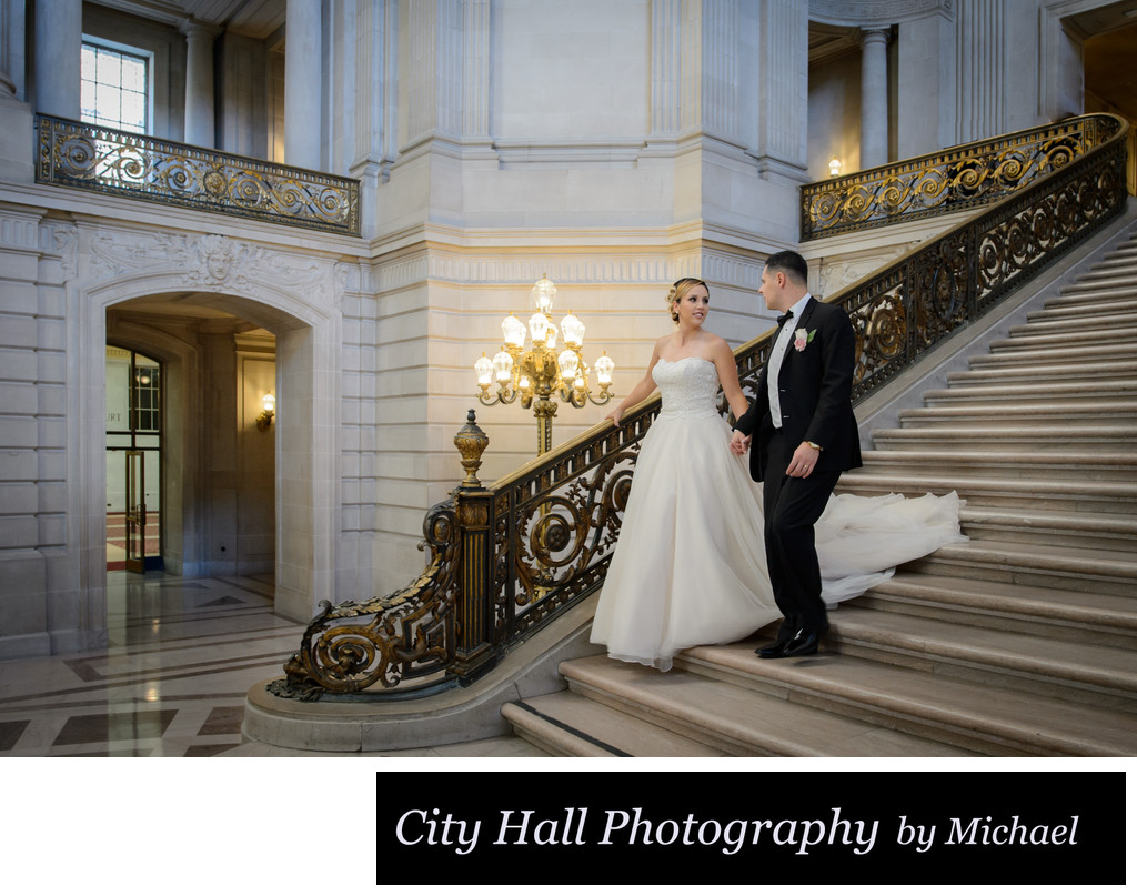 Wedding Photographer City Hall - Walk Down Grand Staircase