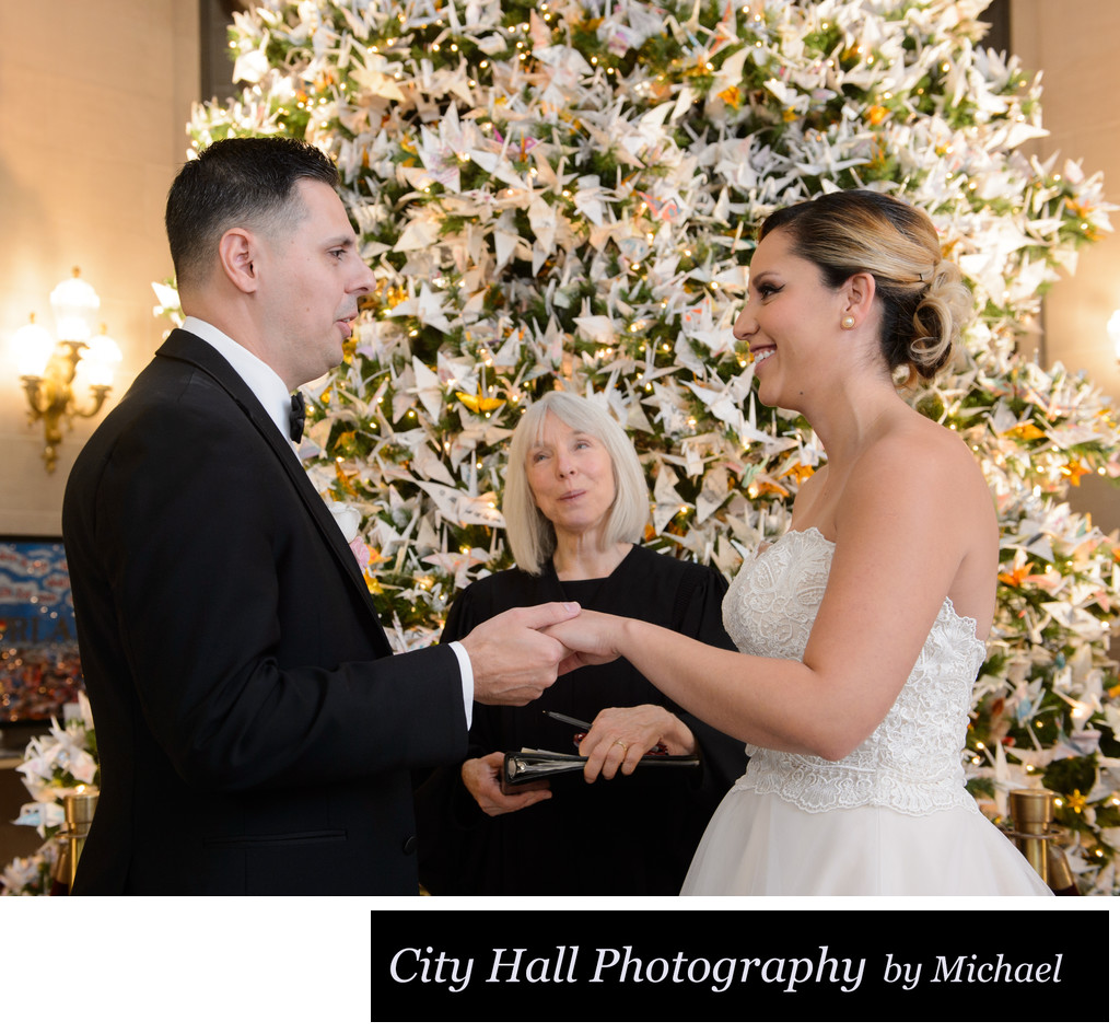 Wedding ceremony at Christmas time - SF City Hall
