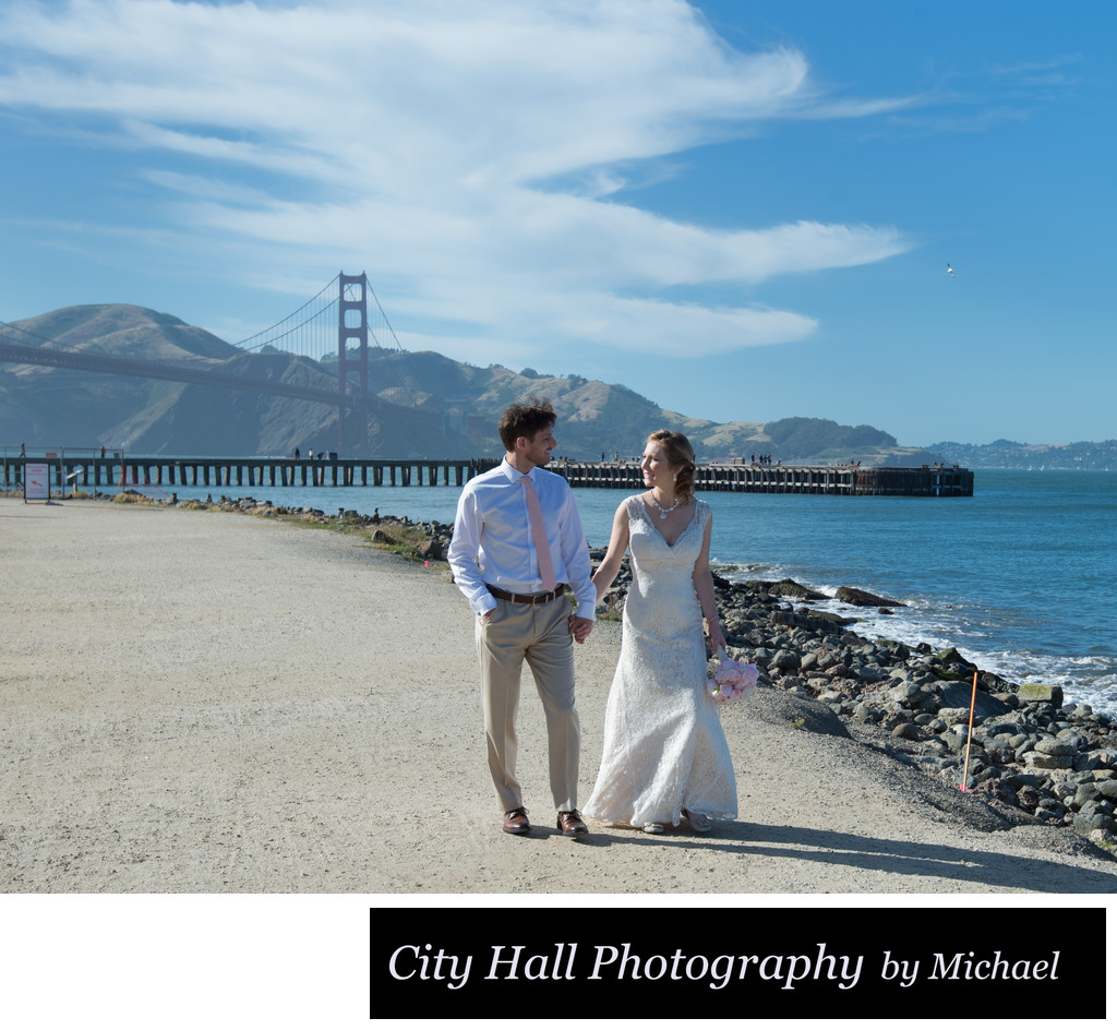 Wedding Photography walking at San Francisco's Crissy Field
